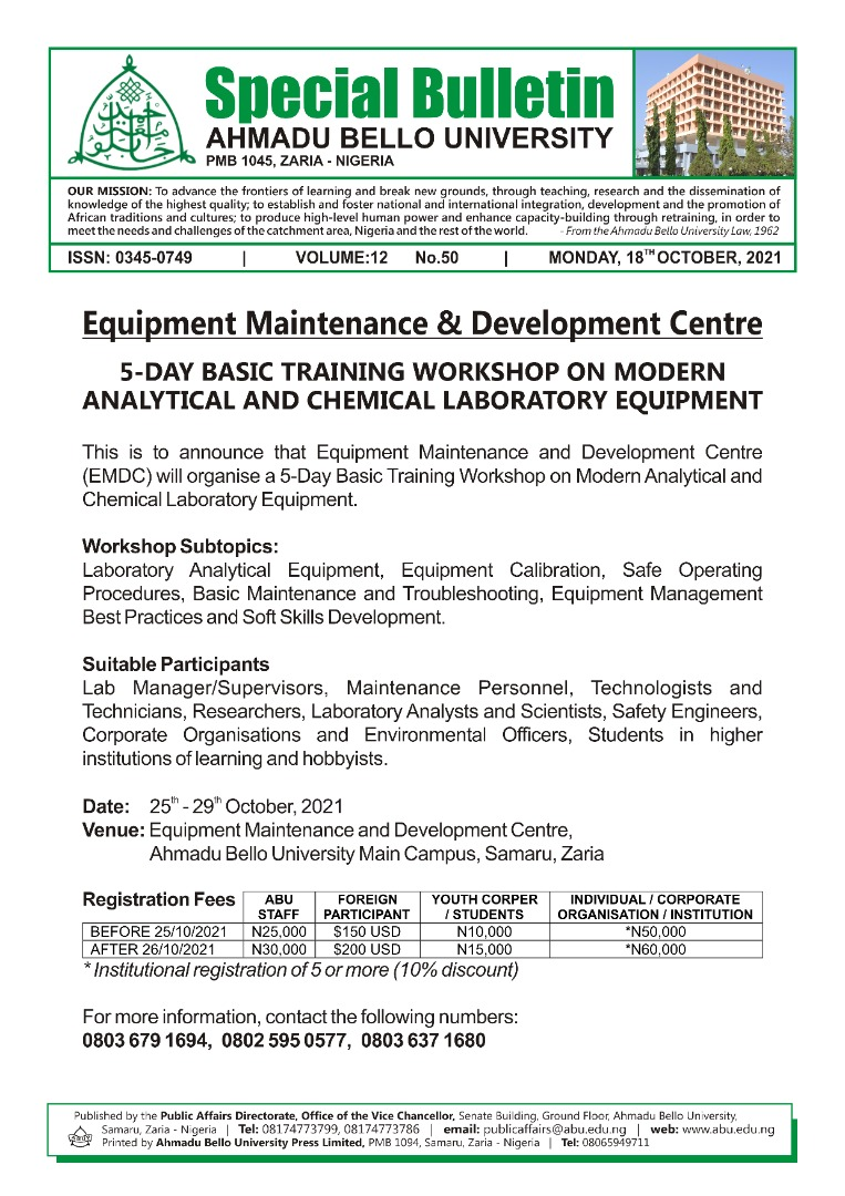 5-Day Basic Training Workshop on Modern Analytical and Chemical Laboratory Equipment