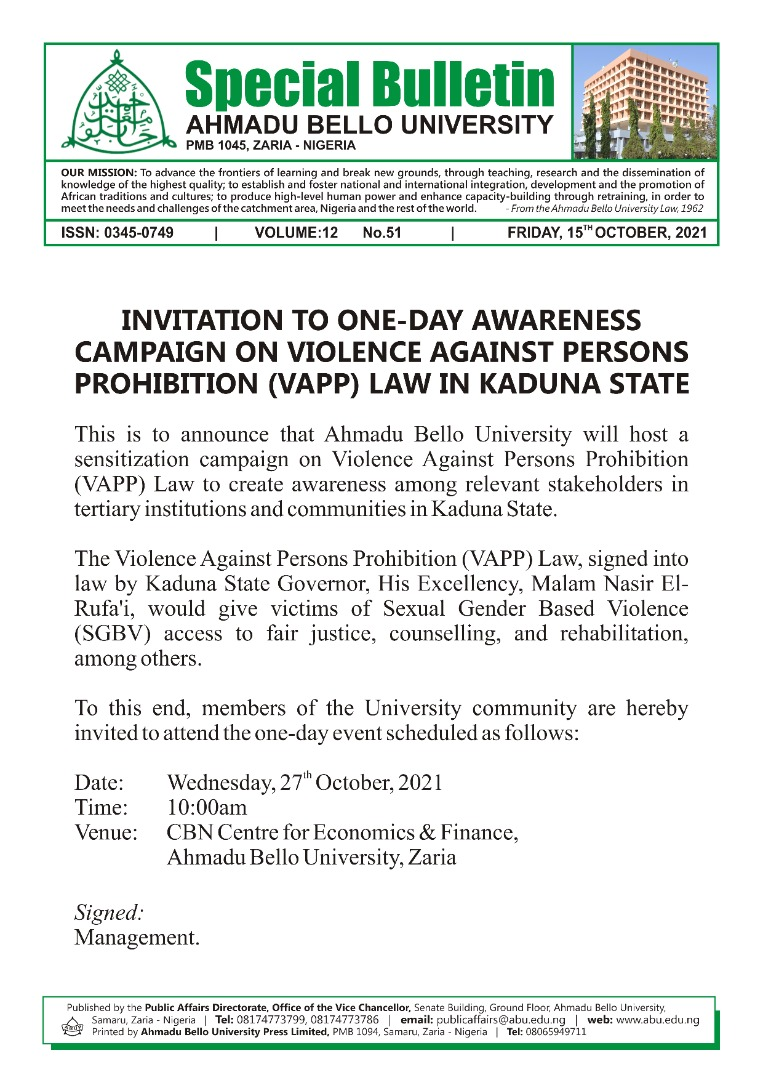 INVITATION TO ONE-DAY AWARENESS CAMPAIGN VIOLENCE AGAINST PERSONS PROHIBTION (VAPP) LAW IN KADUNA STATE