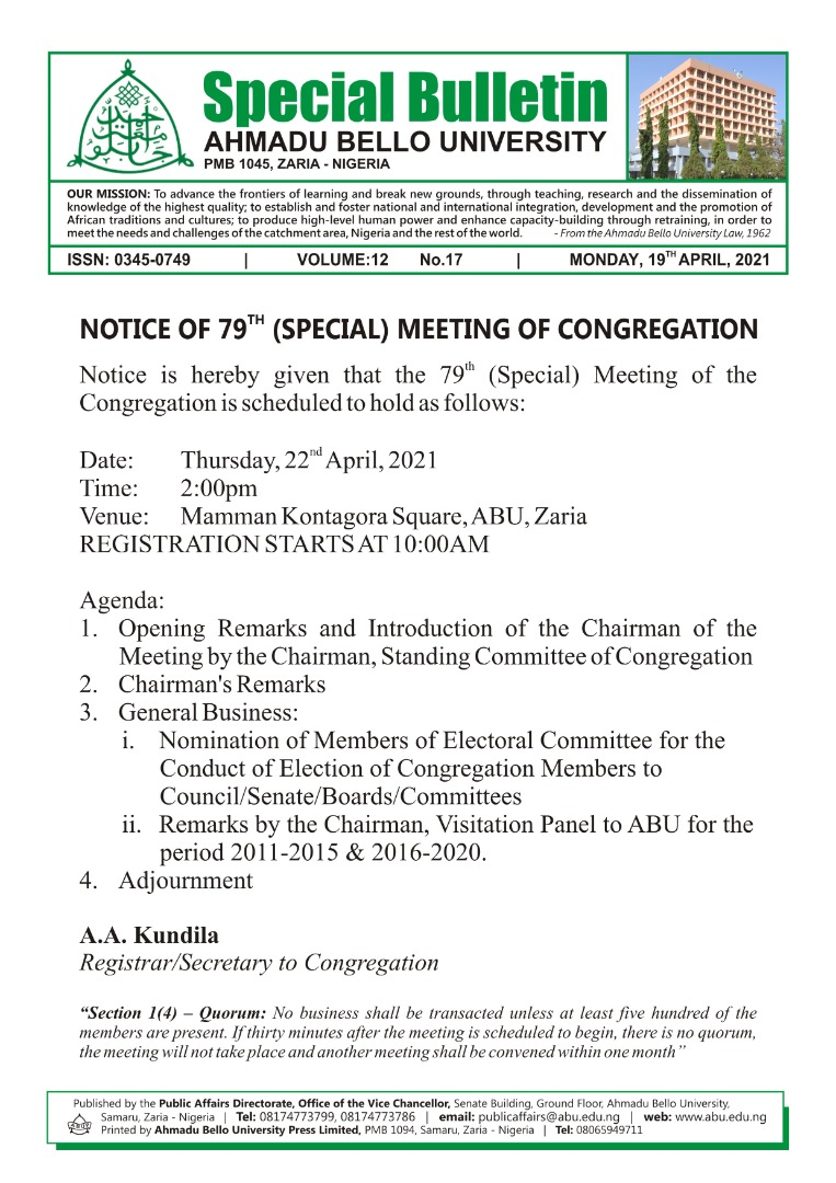 Noticed of 79th (Special) Meeting of Congregation