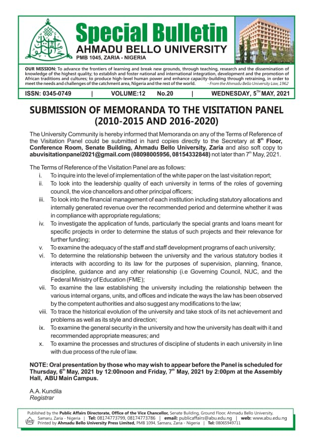 Submission of Memoranda to the Visitation Panel (2010 - 2015 and 2016 - 2020)