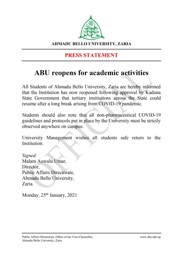 ABU reopens for academic activities