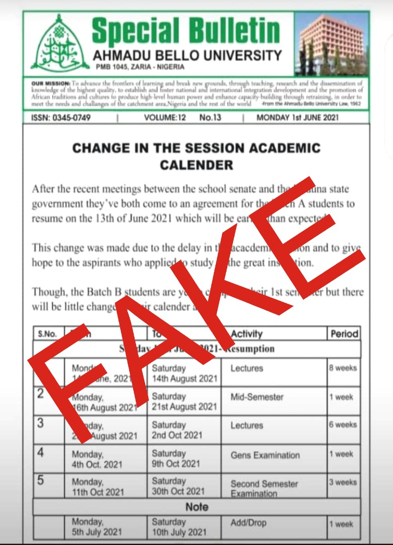 Change in the Second Academic Calendar