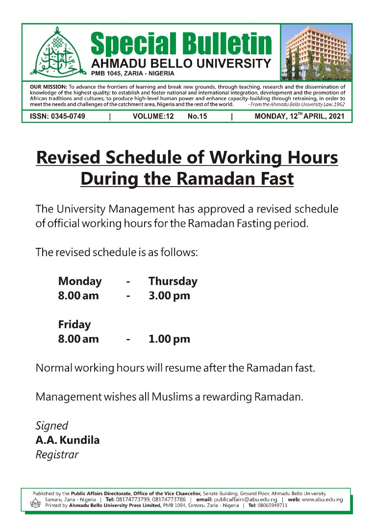 Revised Schedule of Working Hours During the Ramadan Fast