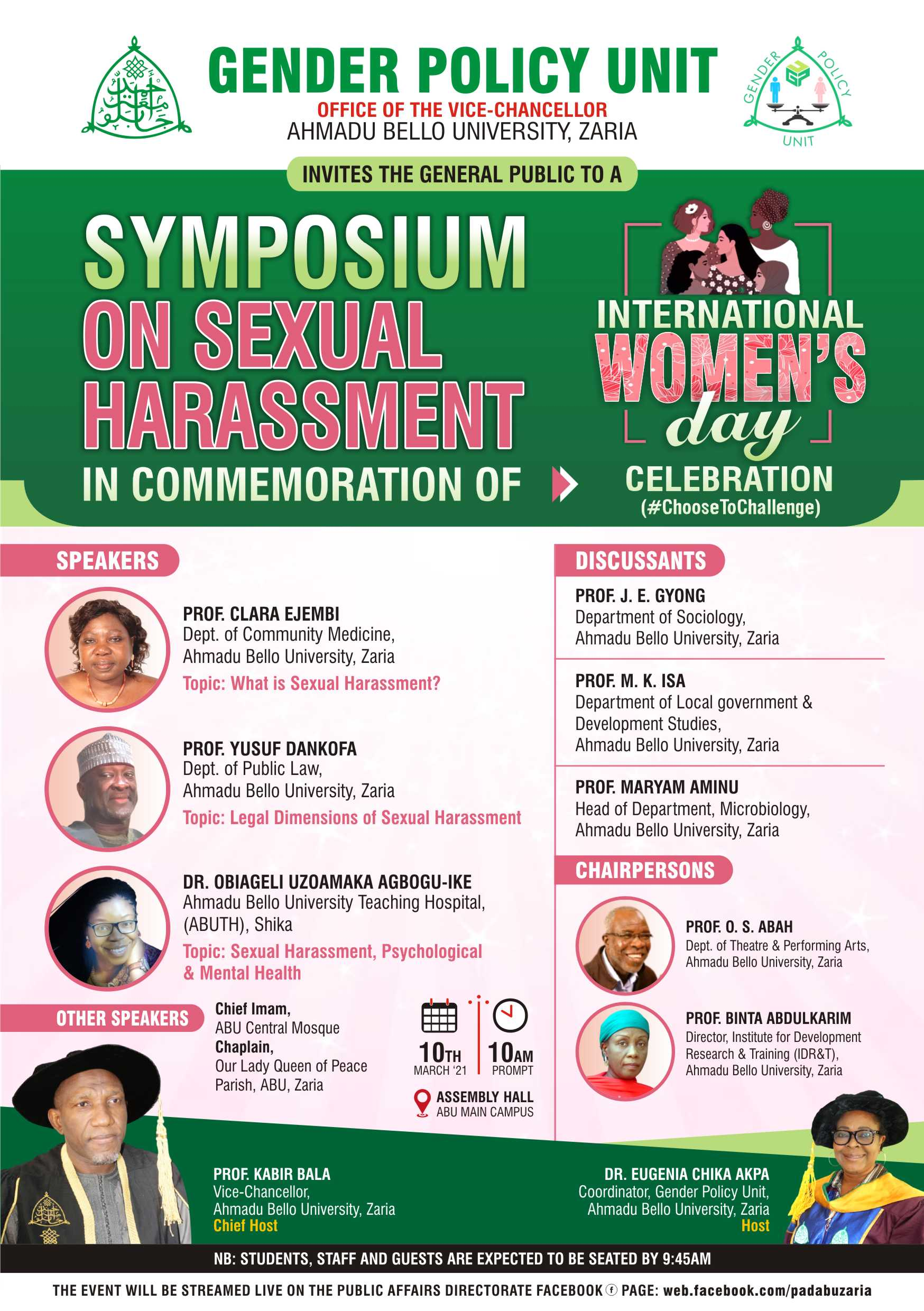 Gender Policy Unit invites the general public to a Symposium on sexual Harassment