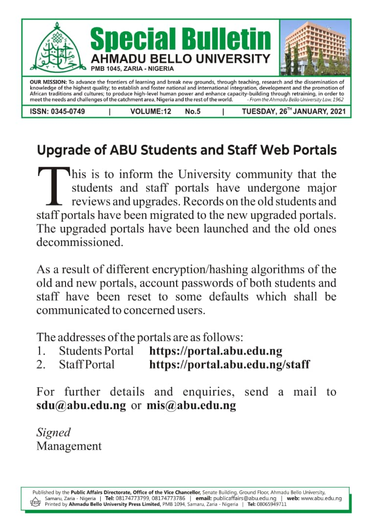 Upgrade of ABU Students and Staff Web Portals